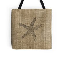 Natural Beige Burlap with  Faded Starfish in Black  Tote Bag