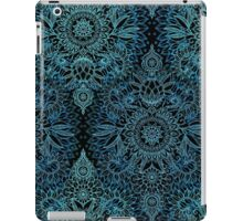 Black, Teal & Aqua Protea Doodle Pattern iPad Case/Skin