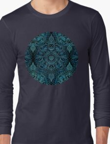Black, Teal & Aqua Protea Doodle Pattern Long Sleeve T-Shirt