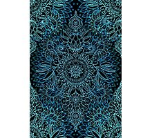 Black, Teal & Aqua Protea Doodle Pattern Photographic Print