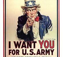 I Want You! Uncle Sam Wants You, USA War Recruitment Poster by TOM HILL - Designer