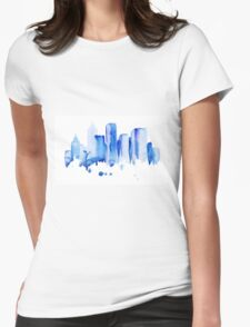 silhouette of the city of new York watercolor hand-drawn Womens Fitted T-Shirt
