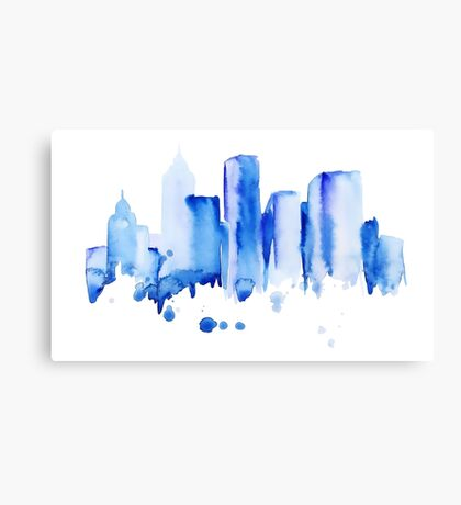 silhouette of the city of new York watercolor hand-drawn Canvas Print