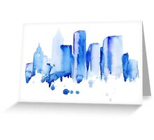 silhouette of the city of new York watercolor hand-drawn Greeting Card