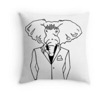 Elephant In a Tux Throw Pillow