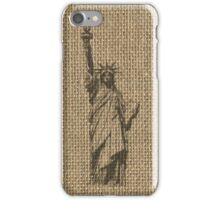 Natural Beige Burlap Statue Of Liberty in Faded Black on Ellis Island iPhone Case/Skin