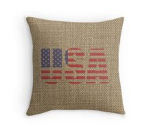 Natural Beige Burlap USA Shown as Flag Stars and Stripes Throw Pillow