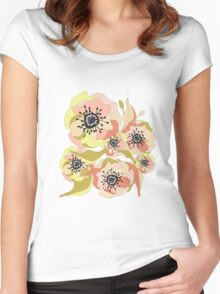 Abstract Elegance Seamless pattern. Floral background Women's Fitted Scoop T-Shirt