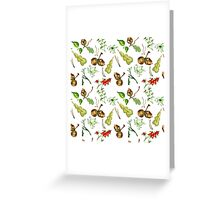 Botanical watercolor seamless pattern. Greeting Card