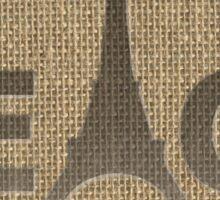 Natural Beige Burlap Paris France 3D Curved Text Peace Eiffel Tower Slogan Sticker