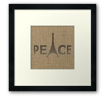 Natural Beige Burlap Paris France 3D Curved Text Peace Eiffel Tower Slogan Framed Print