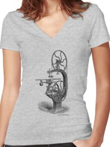 Griffith's Patent Band Saw c1890 Women's Fitted V-Neck T-Shirt