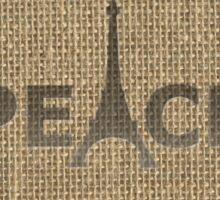 Natural Beige Burlap Paris France Peace Eiffel Tower Slogan Sticker