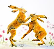 Boxing Hares by closetpainter