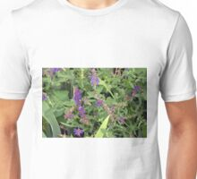 Natural bush with purple small flowers. Unisex T-Shirt