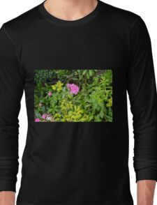 Natural background with vegetation and purple flowers. Long Sleeve T-Shirt