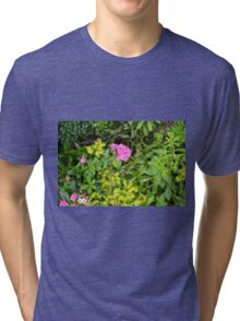 Natural background with vegetation and purple flowers. Tri-blend T-Shirt