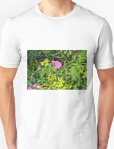 Natural background with vegetation and purple flowers. Unisex T-Shirt