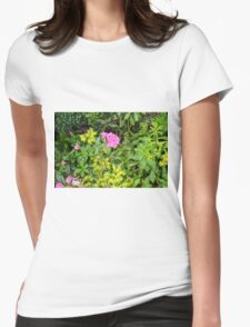 Natural background with vegetation and purple flowers. Womens Fitted T-Shirt