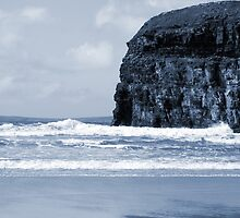 Atlantic waves crashing on Ballybunion beach and cliffs by morrbyte