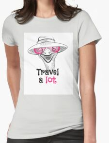 head ostrich travel a lot Womens Fitted T-Shirt