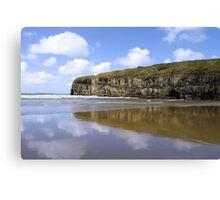 Ballybunion beach and cliffs wth Atlantic waves Canvas Print