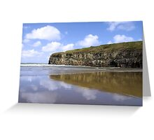Ballybunion beach and cliffs wth Atlantic waves Greeting Card