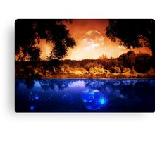 Night Forest and River Canvas Print