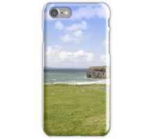 beautiful view of Ballybunion cliffs castle and beach iPhone Case/Skin