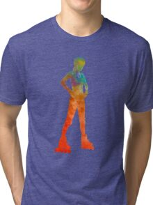 Woman in roller skates 11 in watercolor Tri-blend T-Shirt