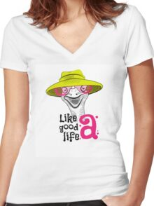 head ostrich good life Women's Fitted V-Neck T-Shirt