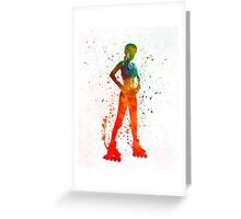 Woman in roller skates 11 in watercolor Greeting Card
