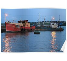 Summer Sunset: Twilight Boats, Irish Sea Poster