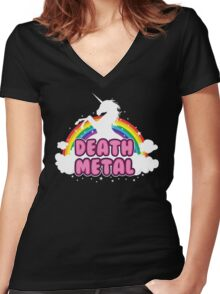 DEATH metal parody funny unicorn rainbow  Women's Fitted V-Neck T-Shirt
