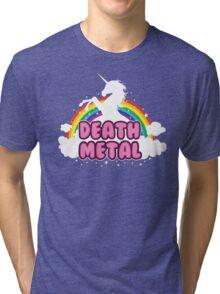 DEATH metal parody funny unicorn rainbow  Tri-blend T-Shirt