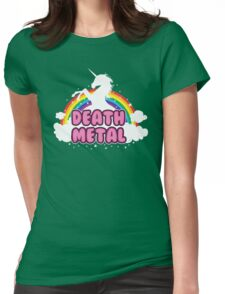 DEATH metal parody funny unicorn rainbow  Womens Fitted T-Shirt