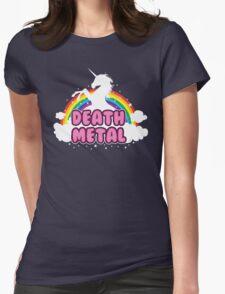 DEATH metal parody funny unicorn rainbow  Womens Fitted T-Shirt
