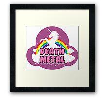 DEATH metal parody funny unicorn rainbow  Framed Print