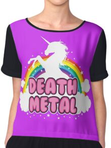 DEATH metal parody funny unicorn rainbow  Chiffon Top