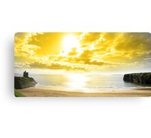 panorama of a Beautiful yellow sun over the Ballybunion beach Canvas Print