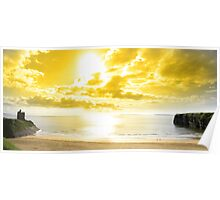 panorama of a Beautiful yellow sun over the Ballybunion beach Poster