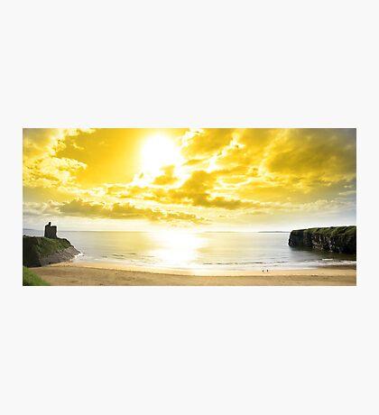 panorama of a Beautiful yellow sun over the Ballybunion beach Photographic Print