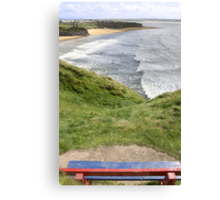 view of beach and cliffs in Ballybunion from bench Canvas Print