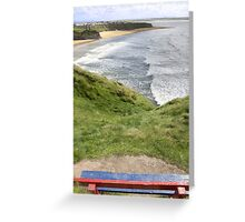 view of beach and cliffs in Ballybunion from bench Greeting Card