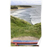 view of beach and cliffs in Ballybunion from bench Poster