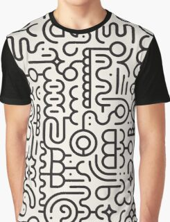 Black And White Geometric Doodle Pattern Graphic T-Shirt