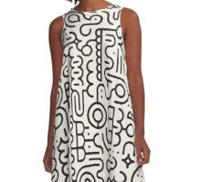 Black And White Geometric Doodle Pattern A-Line Dress