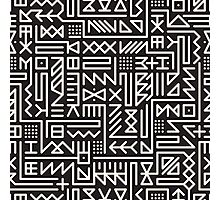 Black And White Rounded Line Geometric Hipster Signs Pattern Photographic Print