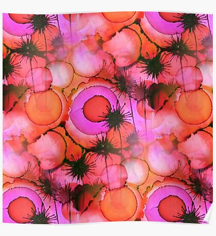 Palm Trees on Sunset Stains Poster