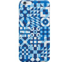 Blue White Irregular Geometric Blocks Pattern iPhone Case/Skin